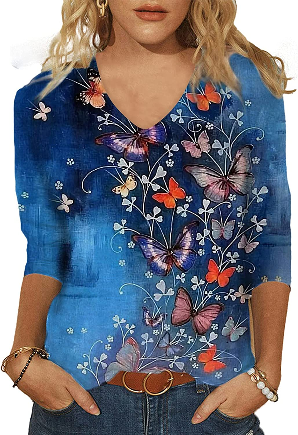 Women's Butterfly Printed Graphic Tee Loose 3/4 V-Neck Shirt Casual Relaxed-Fit Tops T-Shirt