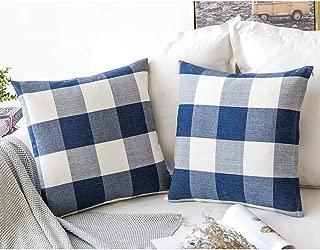 CHICCAT Retro Farmhouse Decorative Pillow Covers Checkered Plaid Cotton Linen Throw Pillow Case Cushion Cover Pillowcase for Sofa, Set of 2, 18inch (45cm), (Blue)