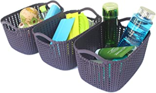 Honla Weaving Rattan Plastic Storage Baskets Bins Organizer with Handles,Set of 3,Deep Purple