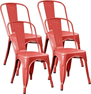 JUMMICO Metal Dining Chair Stackable Indoor-Outdoor Industrial Vintage Chairs Bistro Kitchen Cafe Side Chairs with Back Set of 4 (Red)