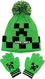 Minecraft Creeper Face Green Pom Pom Woolly Hat and Gloves Set