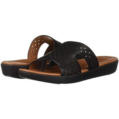 FitFlop H-Bar Slide Sandals Latticed Leather (Black) Women