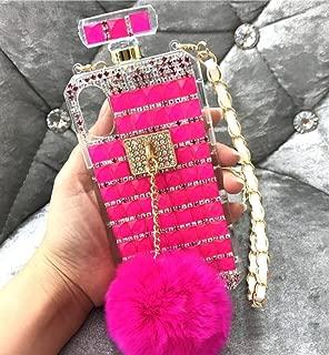 Losin iPhone 7 Plus / iPhone 8 Plus 5.5 Inch Case Thin Fashion Luxury Bling Diamond Rhinestone Bow Perfume Bottle Furry Plush Ball Bling Glitter Gemstone Soft TPU Back Case with Lanyard
