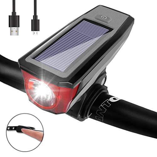 Solar Powered Bike Light With 140dB Horn Waterproof Rechargeable LED Bicycle Set