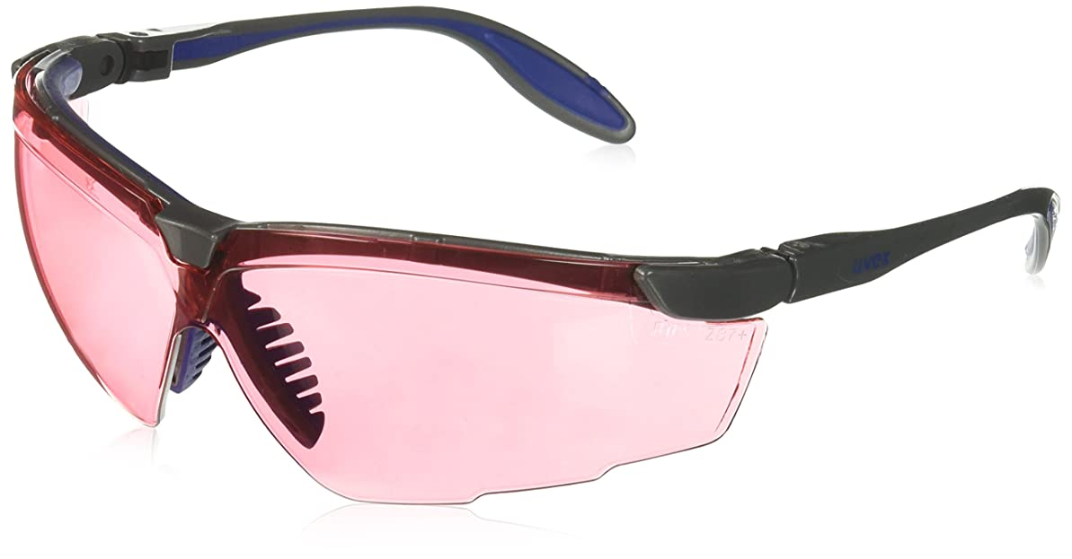 王子保守的航空Uvex S3510X Genesis X2 Safety Eyewear, Silver and Navy Frame, SCT-Vermillion UV Extreme Anti-Fog Lens