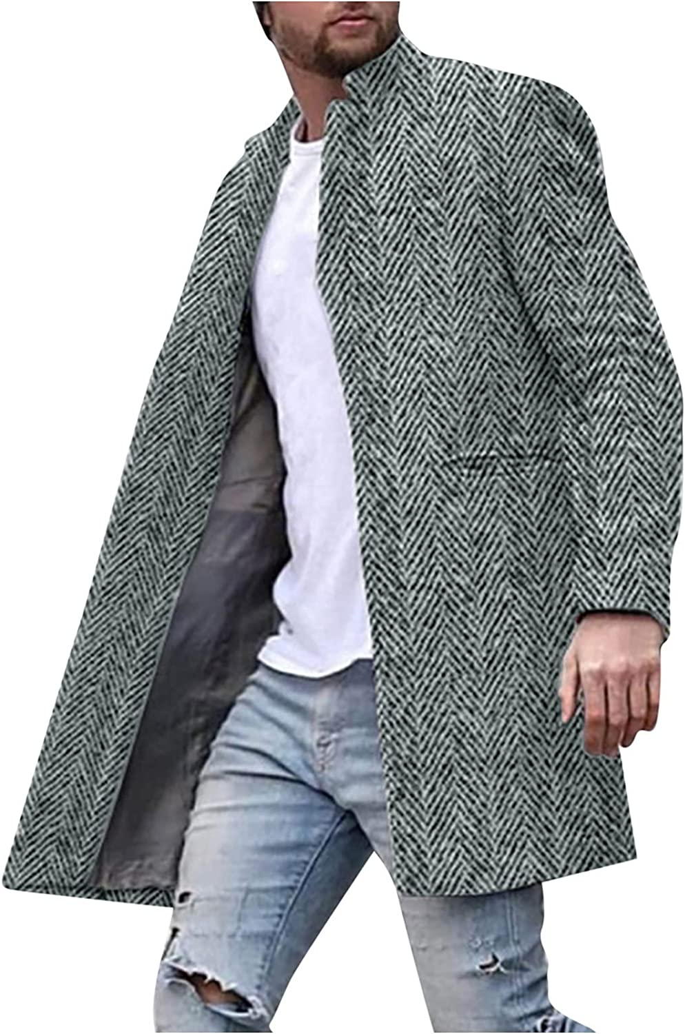 Huangse Men's Wool Blend Notched Lapel Single Breasted Mid Long Trench Pea Coat Classic Long Jacket Casual Print Cardigan