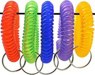 Shells Group IJN6 Shells 5PCS Colorful Soft Highly Spring Spiral Coil Wrist Band Key Ring Chain