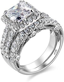Wuziwen 4Ct Engagement Ring for Women Sterling Silver Cubic Zirconia Wedding Band Bridal Set