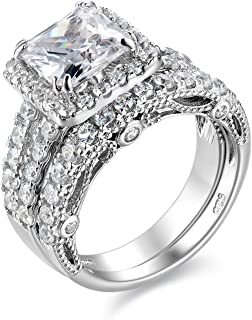 4Ct Engagement Ring for Women Sterling Silver Cubic Zirconia Wedding Band Bridal Set