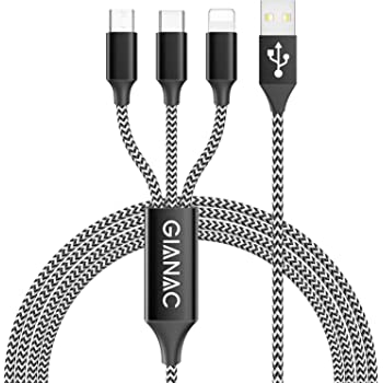 Multi USB Kabel,GIANAC [1.5M] 3 in 1 Nylon Mehrfach Universal Ladekabel iP Micro USB Typ C für Phone, Android Galaxy, Huawei, Mate20, Honor View 10, Nexus, HTC,Motorola,Nokia,LG, Sony, PS4.