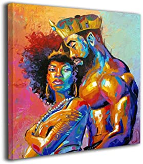 """20""""x20"""" African Queen And King Black American Crown Canvas Prints Modern Lovers.."""