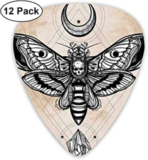 NaiNain Dead Head Hawk Moth with Luna and Stone Classic Celluloid Guitar Picks (12 Pack) for Electric Guitar, Acoustic Guitar,Plectrums for Guitar Bass