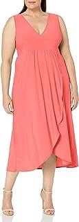 فستان نسائي Star Vixen مقاس إضافي بدون أكمام صيفي Surplice Tulip Skirt Empire Band Maxi Dress