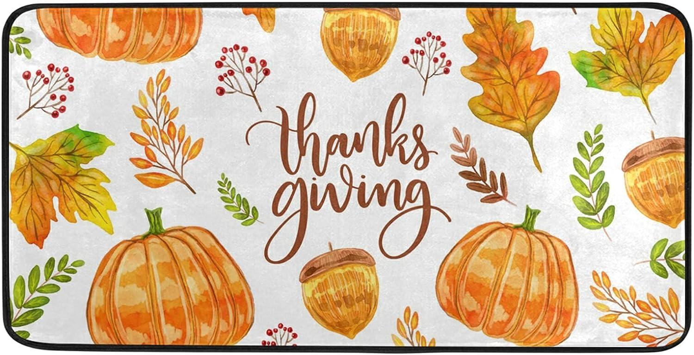Colorful Watercolor Thanksgiving Kitchen Rug Superlatite Floor Ranking TOP2 20 39 x Mat I
