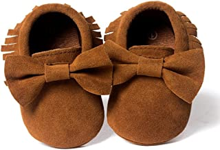 Baby Boys Girls Shoes Soft Sole 0-18 Months Toddler PU Moccassins Crib Shoes with Cute Bowknots Tassels