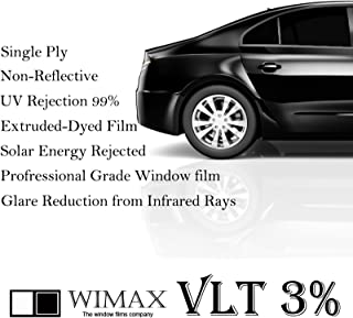 Wimax Limo 3% VLT 24 in x 10' Ft Feet Uncut Roll Window Tint Film Auto Car Home Office