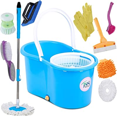JSN Combo Classic Bucket Magic Spin Cleaning Bucket Mop with 1 Foot Brush 1 Tile Brush 1 Liquid Brush 1 Sink Brush 1 Gloves 1 Kitchen Wiper 1 Hand Gloves 3 Microfiber Riffle (Multi-Coloured)