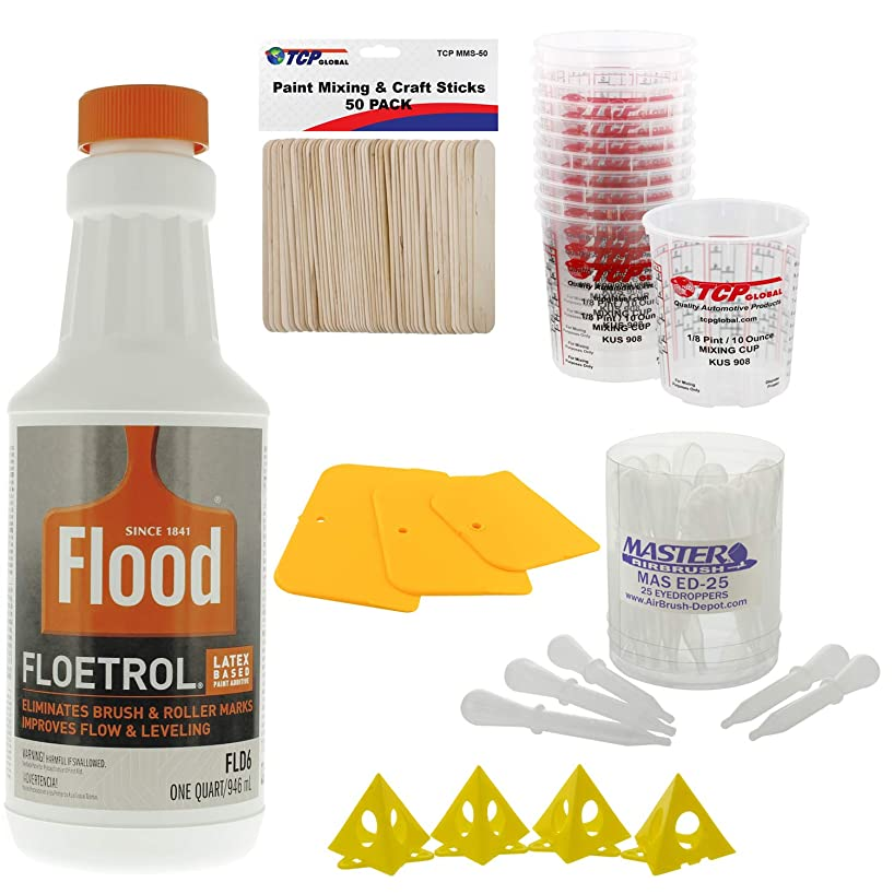 U.S. Art Supply - 1 Quart Floetrol Additive Pouring Supply Paint Medium Basic Kit for Mixing, Stain, Epoxy, Resin - Plastic Cups, Mini Painting Stands, Sticks, Spreaders