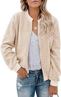 Jackets for Women Winter Sherpa Long Sleeve Coats Tops with Zipper