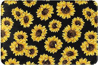 Sunflower Bath Mat Water Absorption Non-Slip Rectangle Mat Print Floor Entryways Painted Flowers Outdoor Indoor Carpet 23....