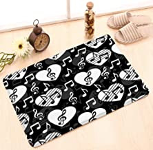 Jiuyiqid1 Outside Shoe Mat Non-Slip Doormat for Front Door Outdoor Mats Entrance Rugs Door Mat 23.6x15.7 Love Music Musical Abstract Heart Treble Clef Notes Black White Psychedelic