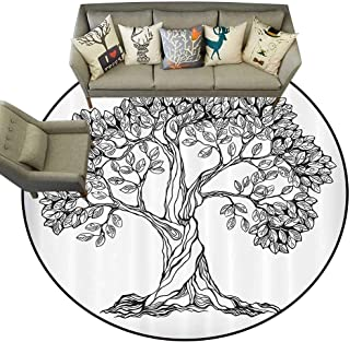 Dining Room Home Bedroom Carpet Floor Mat Nature Tree of Life Themed Majestic Hand Drawn Branches Harvest Mother Earth Design Non Slip Round Rugs D67 Light Grey Black