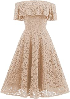 Kangma Women Off Lace Flare Cocktail Party Strap Ball Gown Dress