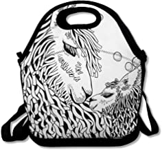 Insulated Lunch Bag for Women Men Adult African Llama Mather Baby Coloring Book Page Line Adult Holidays Alpaca Black Camel Child Design Wilde Reusable Lunch Tote for Office Work