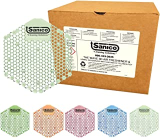 Sanico The Wave 30-Day Air Freshener and Urinal Deodorizer Screen with Enzymatic Technology, Herbal Mint - 10 per Case