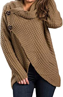 LovInParis Women's Chunky Long Sleeve Cowl Neck Wrap Knit Cardigan Sweater With Button A8010