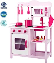 Lauraland Play Kitchen, Wooden Little Chef Pretend Play Kitchen Cooking Toy Set with 16-Piece Cookware Accessories, Intelligent Toy Kitchen Playset for Toddlers, Pink