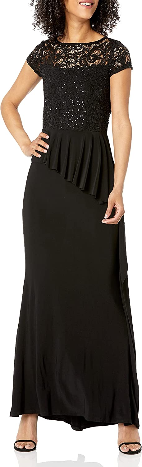 Marina Women's Lace and Jersey Gown with Tiered Skirt and Illusuion Back