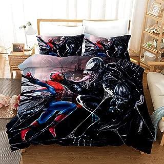 ZI TENG New 3D Marvel Venom Duvet Cover Kids Cartoon Venom Bedding Set 100% Polyester Teenagers Adult Bed Set,3pcs 1 Duvet Cover 2 Pillowcase Twin Full Queen King
