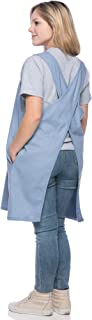 SMN Goods Premium Soft Cotton/Linen Blend Apron - Cross Back Apron, X-Shaped Apron, Japanese Style Apron, Perfect for Kitchen, Gardening, and Daily Chores. (Sky Blue, Plus)