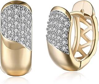 FidgetKute Aretes Argollas Chapada en Oro 10K Pendientes Joyería Fina de Moda De Oro Mujer