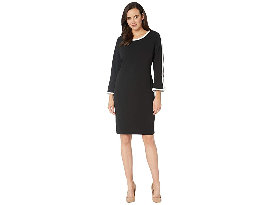 Tommy Hilfiger Scuba Crepe Dress (Black/Ivory) Women