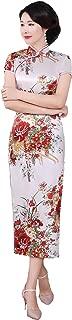 Faux Silk Chinese Dress Long Cheongsam Floral Qipao for Women