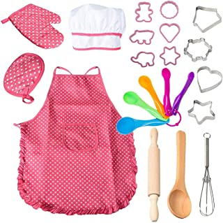 22 Pcs Kids Cooking and Baking Set - Includes Apron for Girls,Chef Hat,Oven Mitt and Other Cooking Utensils for Toddler Ch...