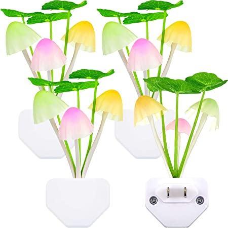 4 Pieces Night Lights 7 Color Changing Plug-in Light Sensor Wall Lamp, LED Mushroom Night Lights Dusk to Dawn Sensor Night Light Wall Lamp for Kid Adult Mushroom Bedroom Bathroom Nightlight Christmas