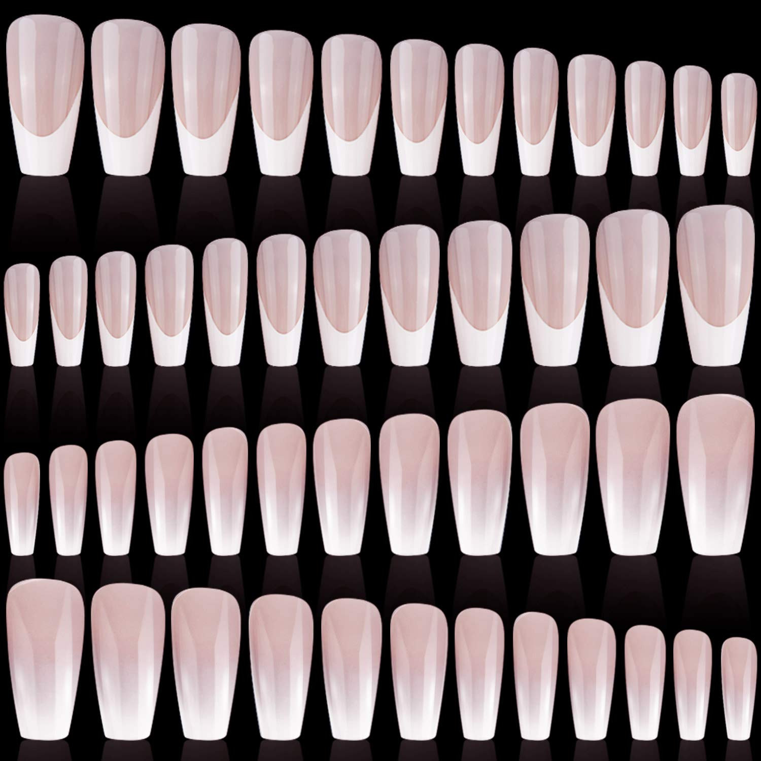 96 Pieces 4 Sets Long Low price Ballerina Nails Nail New life Pattern Coffin Art Co