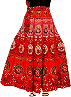 Rangun Presenting Woman's Cotton Printed Red Color Casual Skirt (A-line :: Free Size)