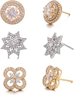 3 Pairs 925 Sterling Silver Rose White Gold Plated Cubic Zirconia Circle Earring - CZ Sparkling Star Simulated Diamond 4 Leaf Clover Flower Stud Earrings Set Beautiful & Elegant Gift for girl women