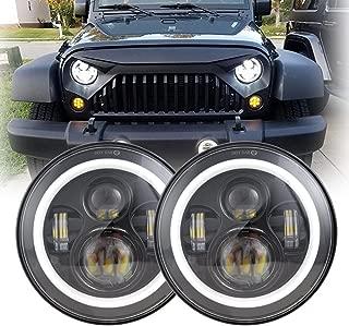 7Inch Black LED Headlight with White Halo/Amber Turn Signal for Jeep Wrangler JK LJ TJ CJ HUMMER H1 H2 Land Rover Defender