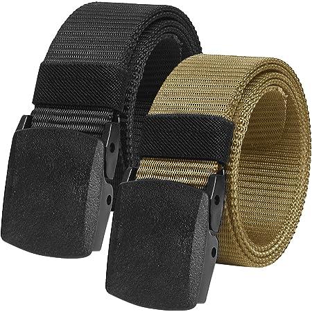 """2 Pack Mens Work Belts 1.5"""" Webbing Canvas Belt Plastic Clip Airport Safe Belt Military Tactical Nylon Belt"""