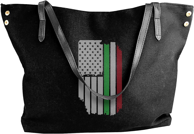 Italian American Flag Women'S Leisure Canvas Sling Bag For Travel Shoulder Tote