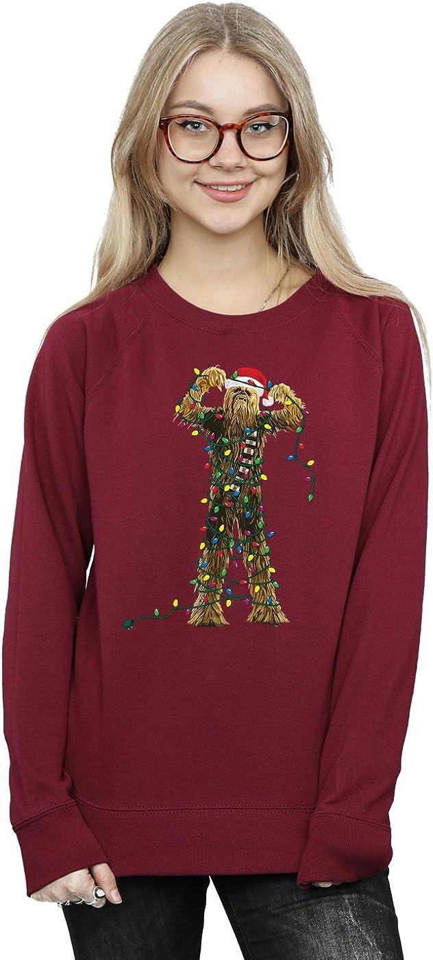 Star Wars Women's Chewbacca Christmas Lights Sweatshirt Large Burgundy