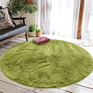 junovo Round Fluffy Soft Area Rugs for Kids Girls Room Princess Castle Plush Shaggy Carpet Baby Room Decor, Diameter 4ft Green