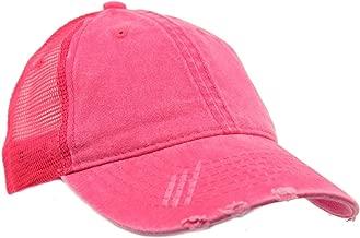 SK Hat shop Unisex Distressed Low Profile Trucker Mesh Summer Baseball Sun Cap Hat Hot Pink