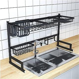 HFTD Égouttoir à Vaisselle DIY Vaisselle Couverts égouttoir Sec 2 Couches étagère de Rangement Organisateur de Garde-Mange...