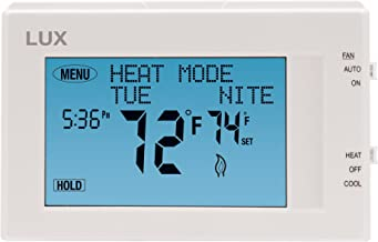 Lux Products TX9600TS Programmable Large Touchscreen Heating Cooling Thermostat, White